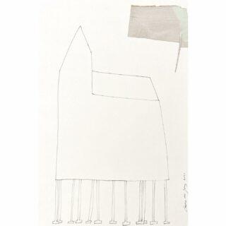 Polehouse, castle, fishermans house, 48 x 32 cm #inkonpaperdrawing #collage #collageart #mixedmediaart #mixedmedia #drawing #inkttekening #modernart