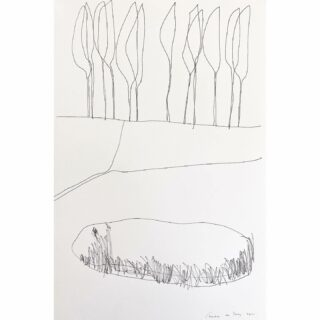 Poplars/populieren ink on paper, 32 x 48 cm #inkdrawing #inkart #inkartists #drawing #landscape #landscapedrawing #poplar #populier #tekening #inkttekening