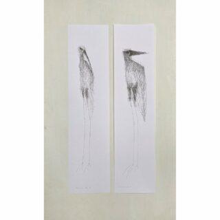 Wading birds XL ink on paper 15 x 61 cm each #birds #birdsofinstagram #inkart #paperart #inkdrawing #inkttekening #androdejongart #tekening